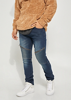 Dark Wash Flex Skinny Fit Distressed Zip Moto Jeans