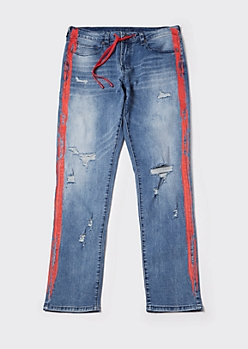 Supreme Flex Side Stripe Drawstring Waist Straight Leg Jeans