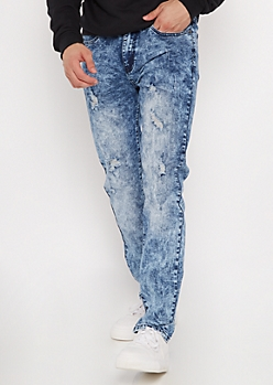 Supreme Flex Acid Wash Distressed Skinny Jeans