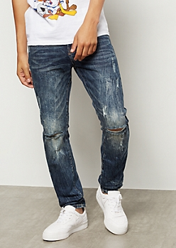 Flex Dark Wash Sandblast Ripped Knee Skinny Jeans