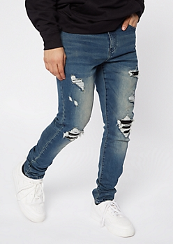 Medium Wash Blown Rip Repair Moto Jeans