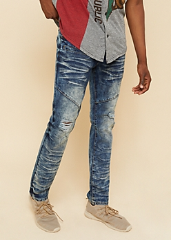 Flex Medium Wash Distressed Knee Skinny Jeans