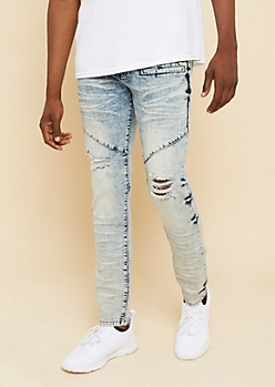 Flex Light Acid Wash Distressed Knee Skinny Jeans