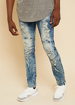 Flex Medium Acid Wash Distressed Darted Skinny Jeans