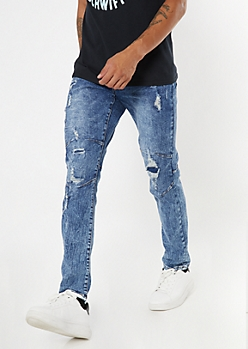 Dark Wash Darted Ripped Repaired Skinny Jeans