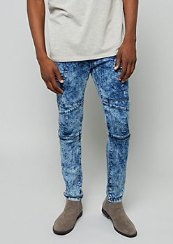 Flex Medium Acid Wash Embossed Moto Skinny Jeans