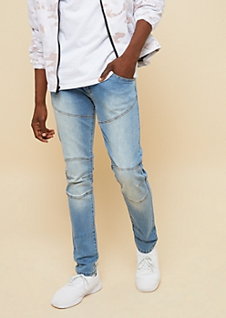 Flex Medium Wash Moto Stitched Skinny Jeans
