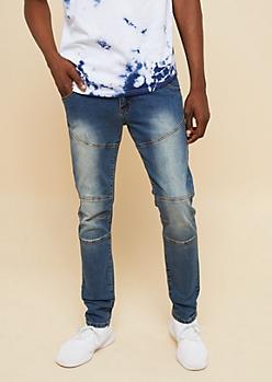 Flex Dark Wash Moto Stitched Skinny Jeans