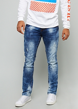Medium Acid Wash Distressed Striped Pocket Skinny Jeans