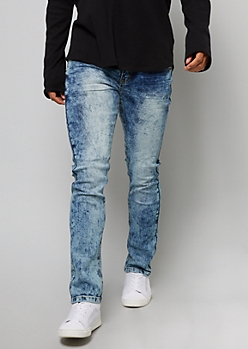 Medium Acid Wash Crisscross Stitched Pocket Skinny Jeans