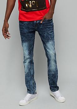 Dark Acid Wash Whiskered Skinny Jeans