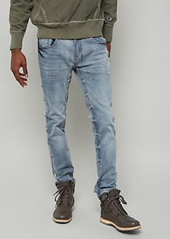 Medium Wash Tacked Seam Slim Jeans