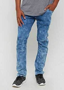 Vintage Washed Moto Slim Jeans