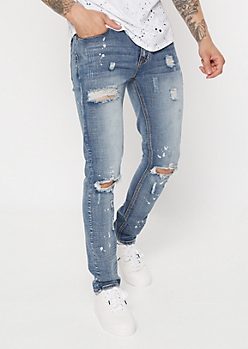 Supreme Flex Medium Wash Bleached Distressed Skinny Jeans