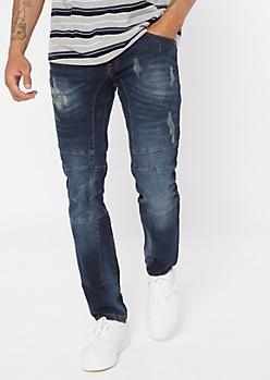 Dark Wash Moto Seam Skinny Jeans