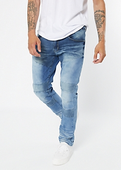 Light Wash Darted Moto Skinny Jeans