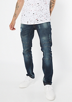 Dark Wash Distressed Moto Skinny Jeans