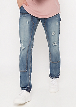 Medium Wash Ripped Skinny Carpenter Jeans