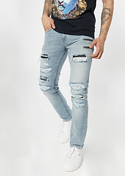 Light Rinse Ripped and Repaired Skinny Jeans