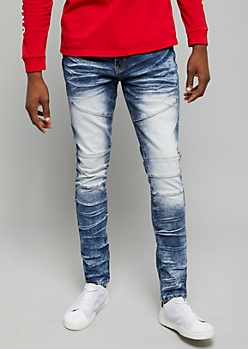 Flex Dark Acid Wash Knee Seams Skinny Jeans