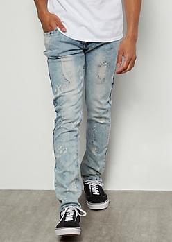 Flex Light Wash Bleached Distressed Skinny Jeans