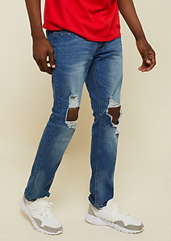 Medium Wash Ripped Knee Slim Straight Jeans