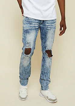 Light Acid Wash Ripped Knee Skinny Jeans