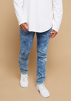 Medium Wash Faded Bleached Moto Skinny Jeans