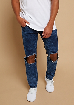 Dark Bleach Wash Ripped Knee Skinny Jeans