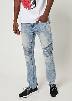 Light Acid Wash Slim Moto Jeans