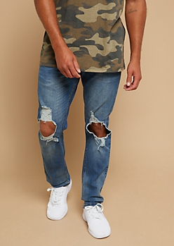 Medium Wash Ripped Knee Skinny Jeans