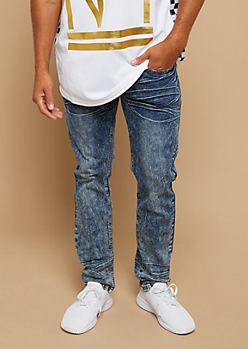 Dark Bleach Wash Whiskered Skinny Jeans