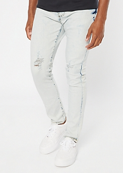 Medium Wash Bleached Ripped Knee Skinny Jeans
