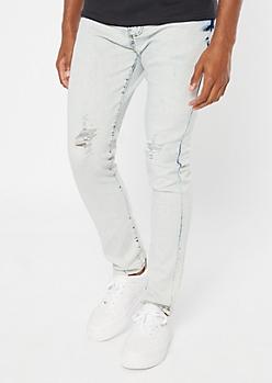 Medium Wash Bleached Ripped Knee Skinny Jeans