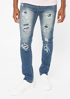 Medium Wash Sandblasted Ripped Repaired Skinny Jeans
