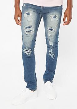 Medium Wash Sandblasted Ripped Repaired Skinny Jeans