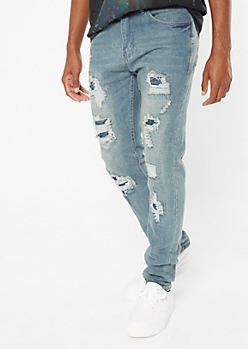 Medium Wash Ripped Repaired Skinny Jeans