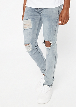 Medium Acid Wash Ripped Skinny Jeans