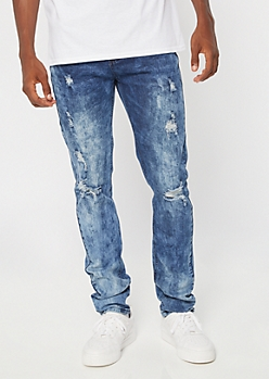 Dark Acid Wash Ripped Skinny Jeans