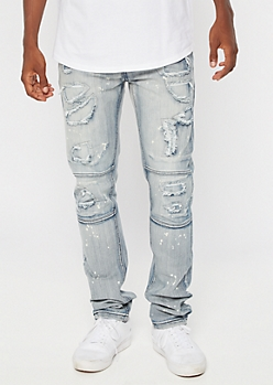 Medium Wash Splattered Moto Ripped Skinny Jeans