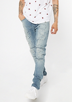Medium Wash Ripped Repaired Moto Skinny Jeans