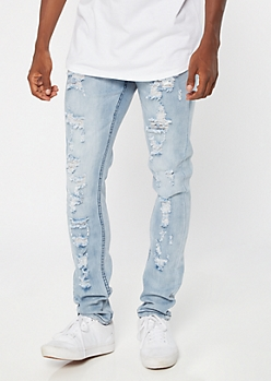 Light Stone Wash Destroyed Skinny Jeans