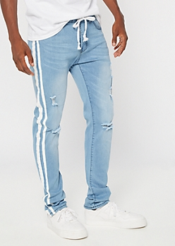 Supreme Flex Light Wash Side Striped Drawstring Skinny Jeans