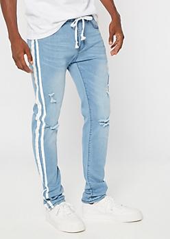 Supreme Flex Light Wash Side Striped Drawstring Skinny Jeans