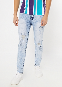 Light Acid Wash Ripped and Repaired Skinny Jeans