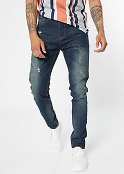 Dark Wash Tinted Distressed Skinny Jeans