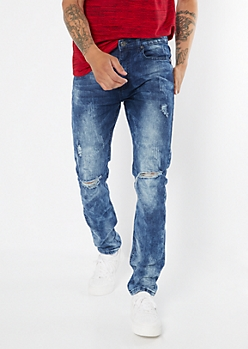 Dark Acid Wash Ripped Knee Skinny Jeans