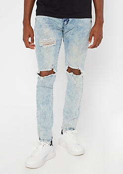 Light Acid Wash Distressed Skinny Jeans