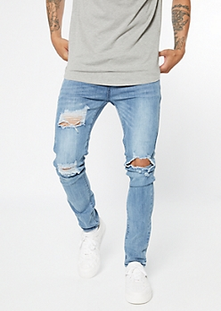 Medium Wash Sandblasted Ripped Knee Skinny Jeans