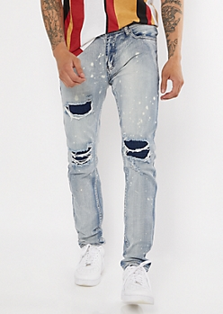 Light Bleached Patched Skinny Jeans